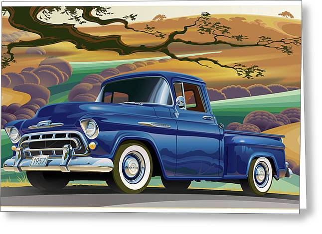 1957 Chevrolet 3100 Truck Under A California Oak Greeting Card