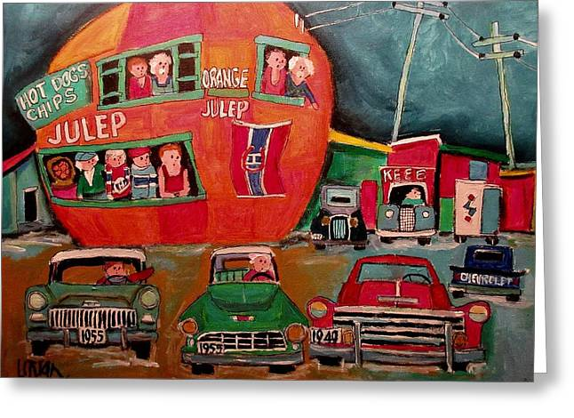Chevrolets At The Orange Julep Greeting Card