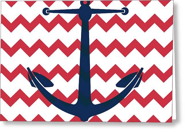 Chevron Anchor Greeting Card