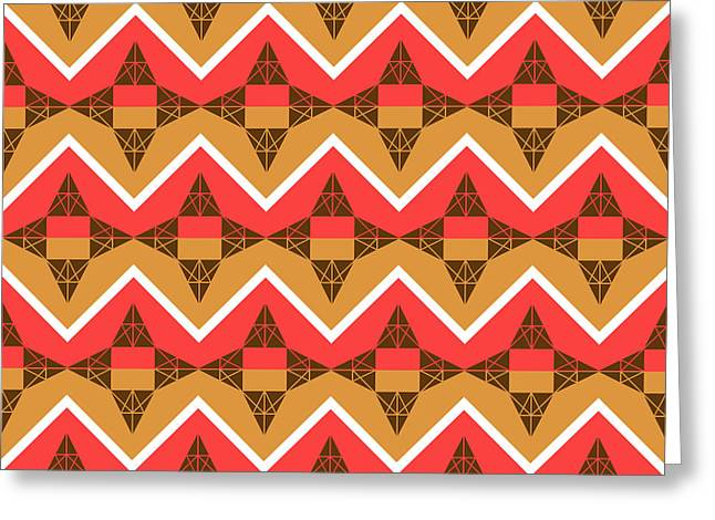 Chevron And Triangles Greeting Card by Gaspar Avila