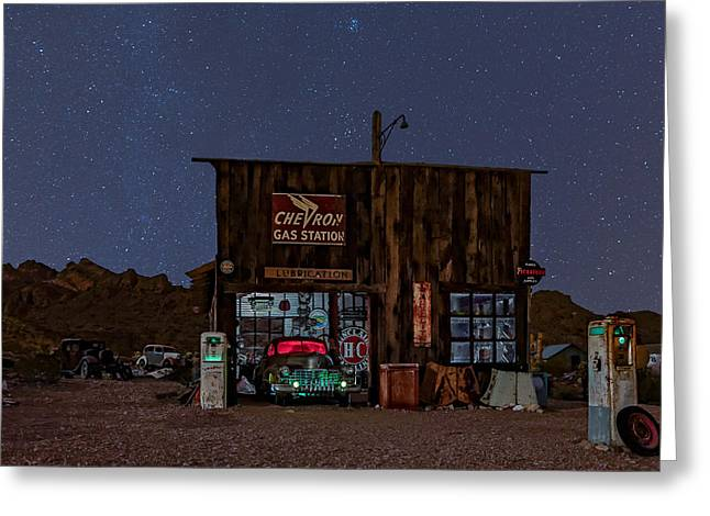 Chevron Gas Station Under The Stars Greeting Card by Susan Candelario