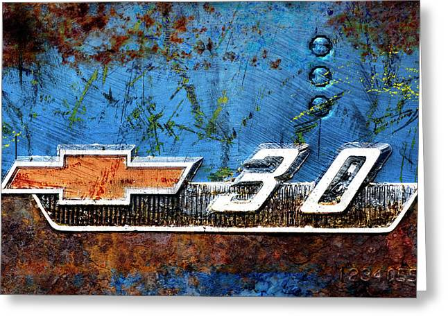 Chevy 3.0 Photomontage Greeting Card by Carol Leigh