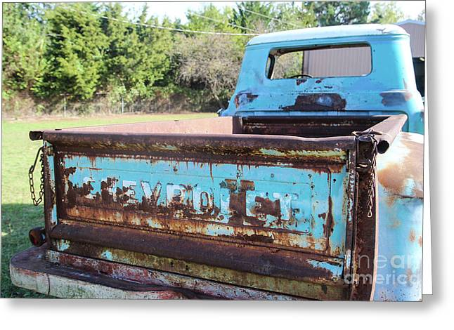 Chevy Back Window Greeting Card by Laura Deerwester