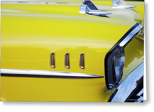Chevy Bel Air Abstract In Yellow Greeting Card by Toni Hopper