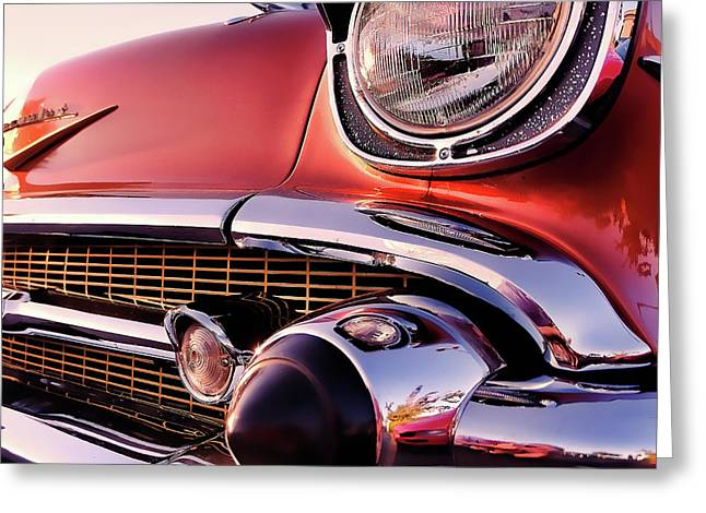 Chevy Bel Air Grille And Bumper Detail Greeting Card