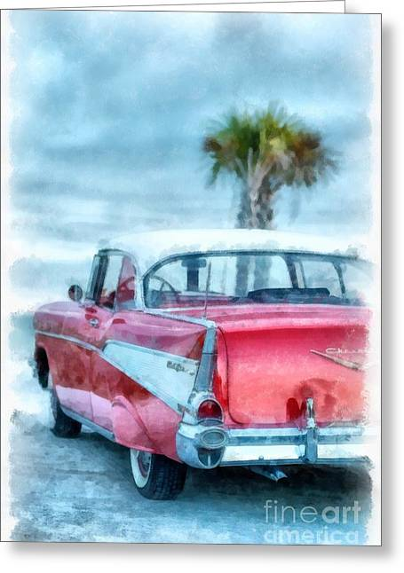 Chevy Belair At The Beach Watercolor Greeting Card by Edward Fielding