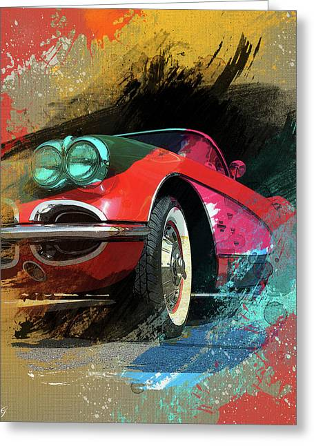 Chevy Corvette Digital Art Greeting Card