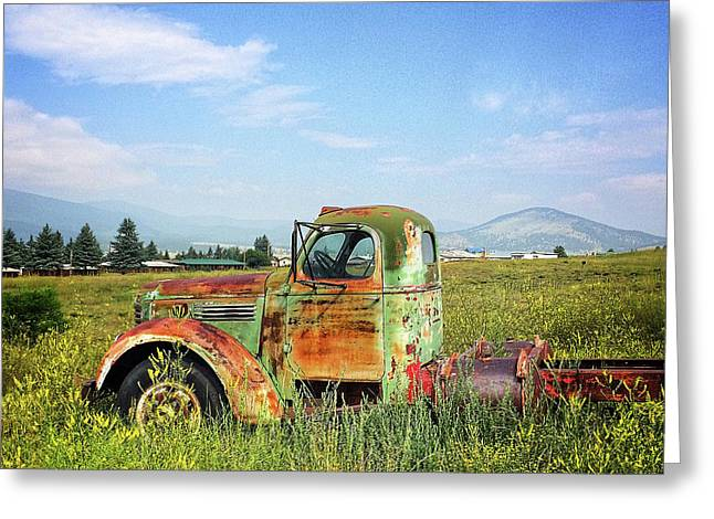 Chevy In A Field Greeting Card by Terry Rowe