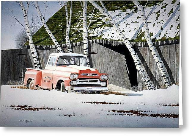 Chevy Pick-up Greeting Card by Conrad Mieschke