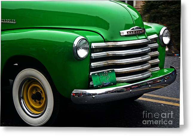 Chevy Pick Up Green With Envy Greeting Card by JW Hanley