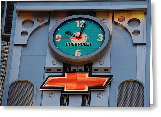 Chevy Times Square Clock Greeting Card by Rob Hans