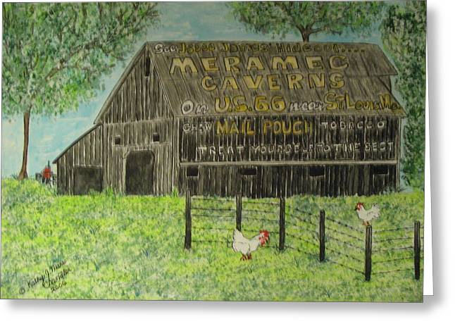 Greeting Card featuring the painting Chew Mail Pouch Barn by Kathy Marrs Chandler