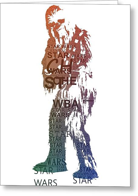 Chewbacca Typography Greeting Card by Dan Sproul