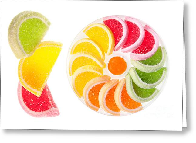 Chewy Gumdrops Sweets With Fruit Flavor  Greeting Card by Arletta Cwalina