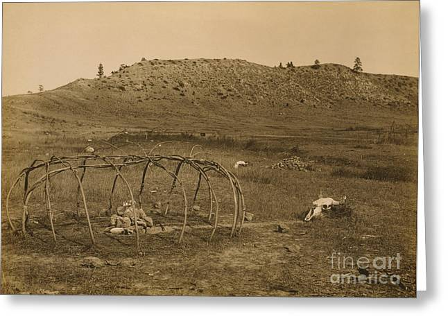 Cheyenne Indian Sweat Lodge Frame, 1910 Greeting Card by Science Source