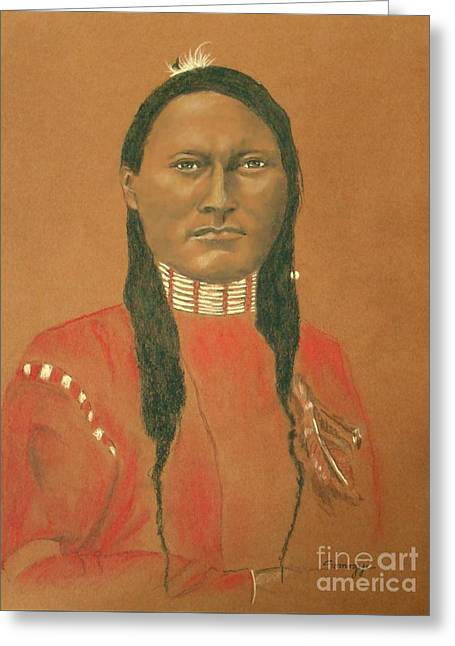 Cheyenne Scout Red Sleeve, 1879 -- Historical Portrait Of Native American Man Greeting Card by Jayne Somogy