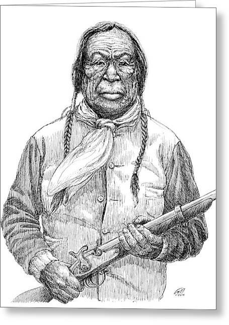Cheyenne Warrior - Wooden Leg Greeting Card by Ryan Irish