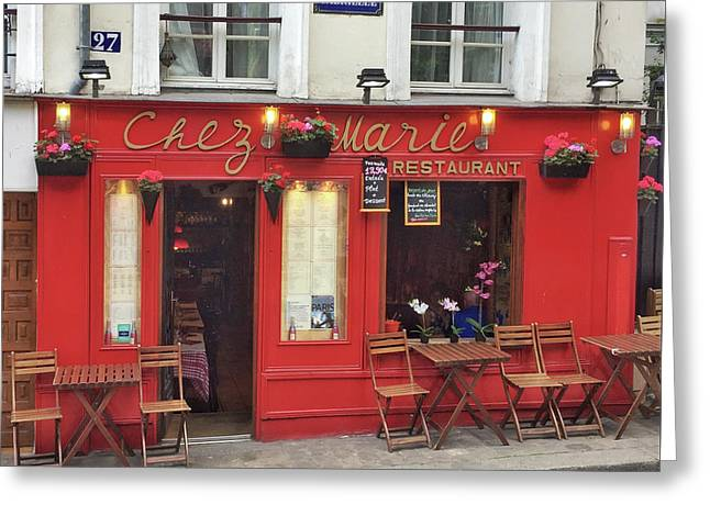 Chez Marie Restaurant, Montmartre, Paris Greeting Card