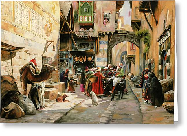 Chiacchiere Al Mercato Greeting Card by Guido Borelli