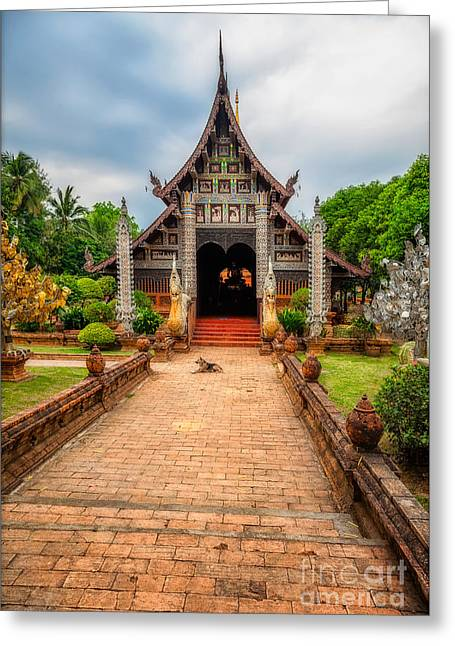 Chiang Mai Temple Greeting Card by Adrian Evans