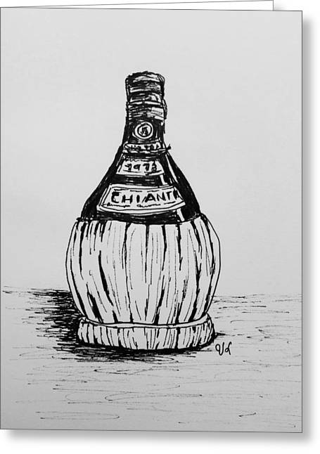 Chianti Bottle Greeting Card by Victoria Lakes