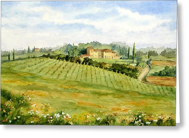 Greeting Card featuring the painting Chianti Villa by Vikki Bouffard