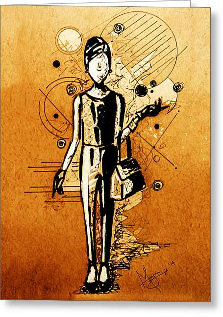 Chic Girl Greeting Card by Mayra Ortiz