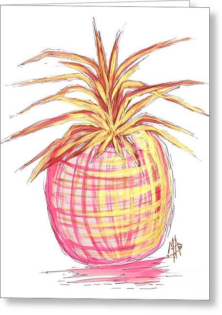 Chic Pink Metallic Gold Pineapple Fruit Wall Art Aroon Melane 2015 Collection By Madart Greeting Card