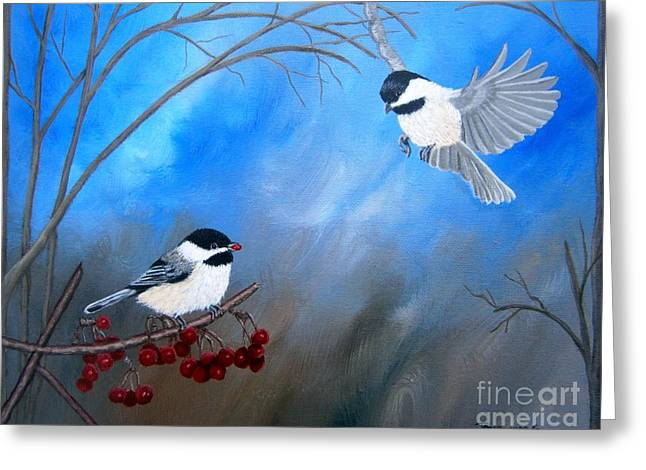 Greeting Card featuring the painting Chickadees  by Tracey Goodwin