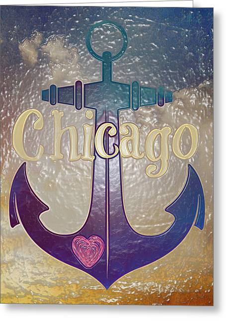 Chicago Anchor Textured Greeting Card by Brandi Fitzgerald