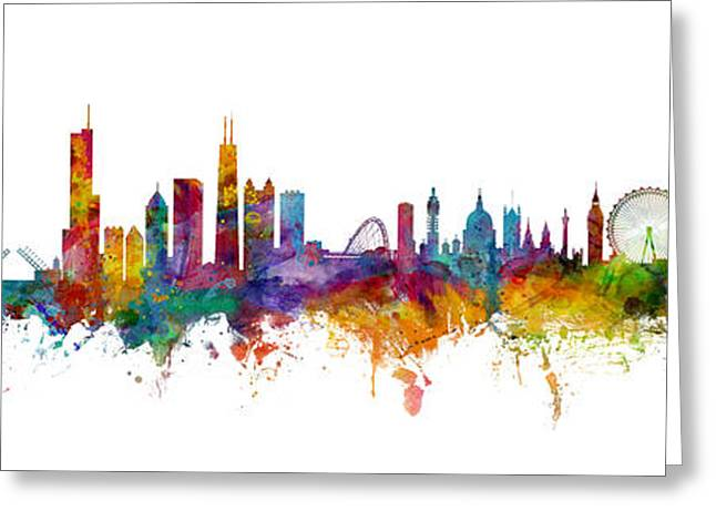Chicago And London Skylines Mashup Greeting Card