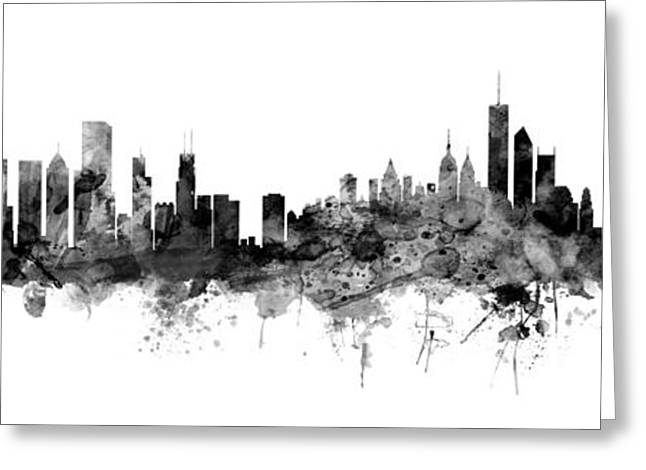 Chicago And New York City Skylines Mashup Greeting Card