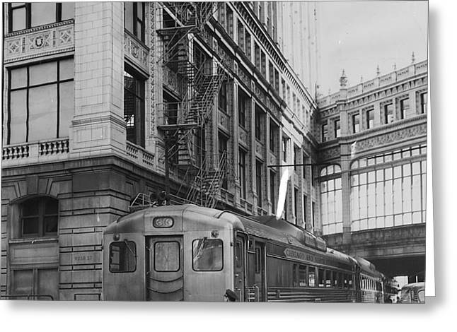 Chicago And North Western Train Alongside Wrigley Building Greeting Card