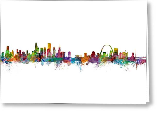 Chicago And St Louis Skyline Mashup Greeting Card by Michael Tompsett
