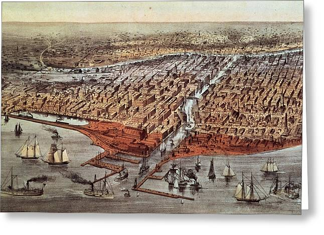 Chicago As It Was Greeting Card by Currier and Ives