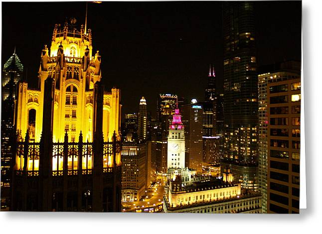Chicago At Night  Greeting Card by Jacob Stempky