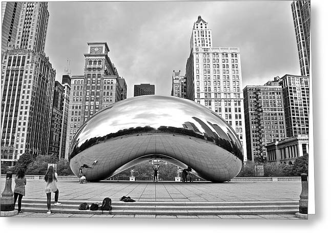 Chicago Bean In Black And White Greeting Card