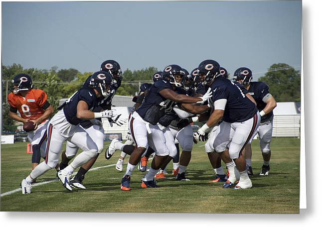 Chicago Bear Camp Blocking Greeting Card by Thomas Woolworth