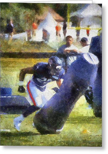 Chicago Bear Camp Hitting The Pads Pa 01 Vertical Greeting Card by Thomas Woolworth
