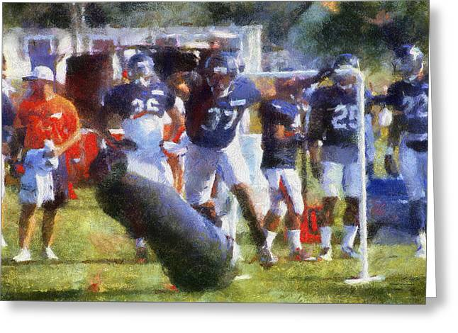 Chicago Bear Camp Hitting The Pads Pa 02 Greeting Card by Thomas Woolworth