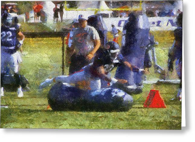 Chicago Bear Camp Hitting The Pads Pa 03 Greeting Card by Thomas Woolworth