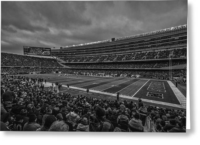 Chicago Bears Black White 7858 Greeting Card by David Haskett