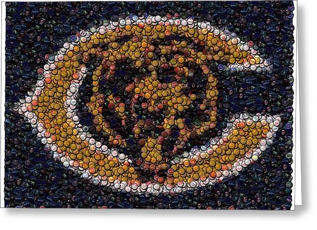 Chicago Bears Bottle Cap Mosaic Greeting Card by Paul Van Scott