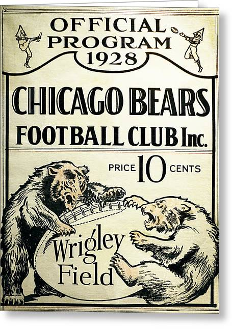 Chicago Bears Football Club Program Cover 1928 Greeting Card by Daniel Hagerman