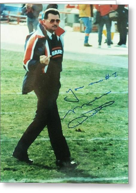 Mike Ditka Chicago Bears Head Coach Greeting Card by Donna Wilson