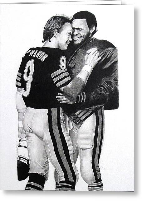 Vince Drawings Greeting Cards - Chicago Bears Quarterbacks Greeting Card by Vincent Wolff
