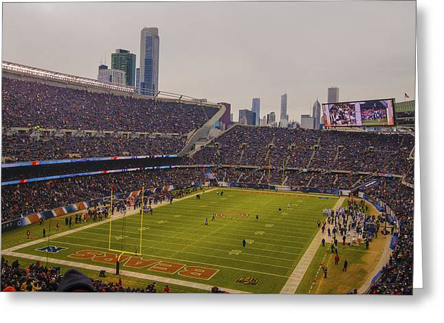 Chicago Bears Soldier Field 7759 Greeting Card by David Haskett