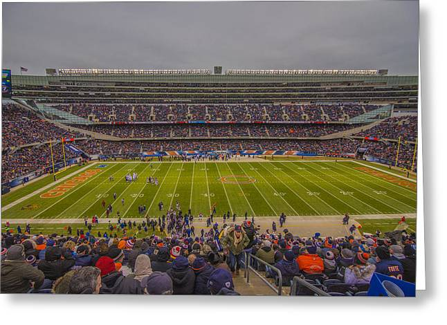 Chicago Bears Soldier Field 7818 Greeting Card by David Haskett