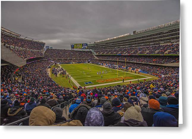 Chicago Bears Soldier Field 7837 Greeting Card by David Haskett