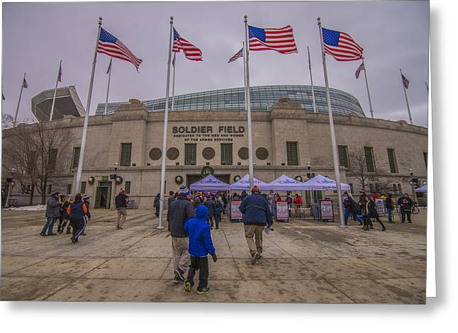 Chicago Bears Soldier Field 7861 Greeting Card by David Haskett